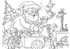 Kleurplaat Kerstman met elfen