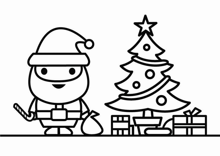 Kleurplaten Kerstman Met Kerstboom.Kleurplaat Kerstman Met Kerstboom Afb 26434