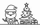 Kleurplaat kerstman met kerstboom