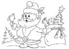 Kleurplaat kerstman met pakjes