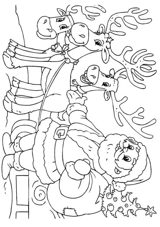 Kleurplaat Kerstman Arreslee Malvorlage Weihnachtsmann Und Schlitten