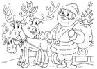 Kleurplaat kerstman met rendieren