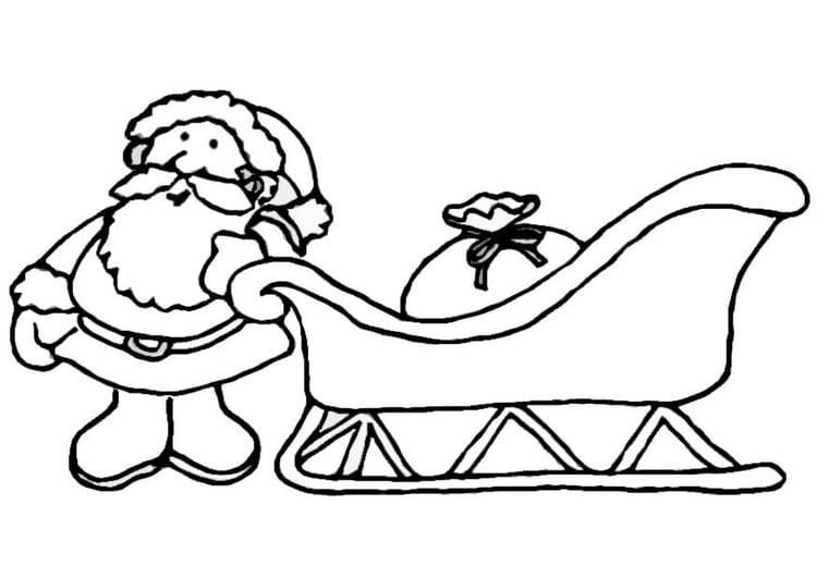 Kleurplaten De Kerstman.Kleurplaat Kerstman Met Slee Afb 8657