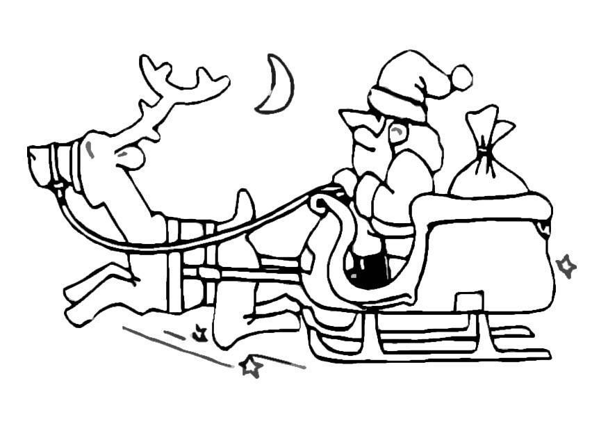 Kleurplaat Kerstman Op Slee Afb 8641