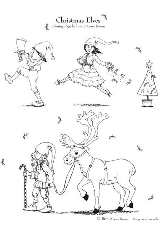 Kleurplaat Kerstmis Elfjes Afb 5994