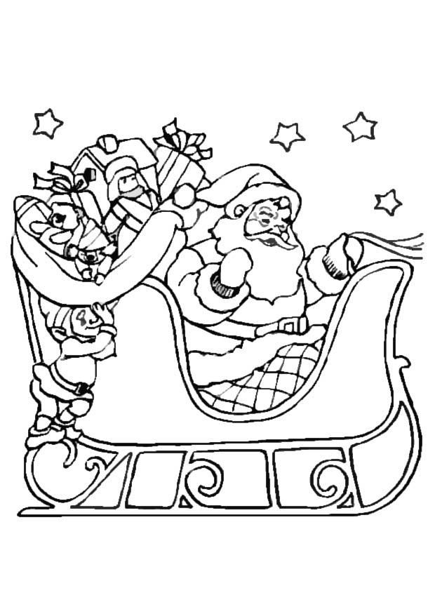 Kleurplaat Kerstslee Afb 8645