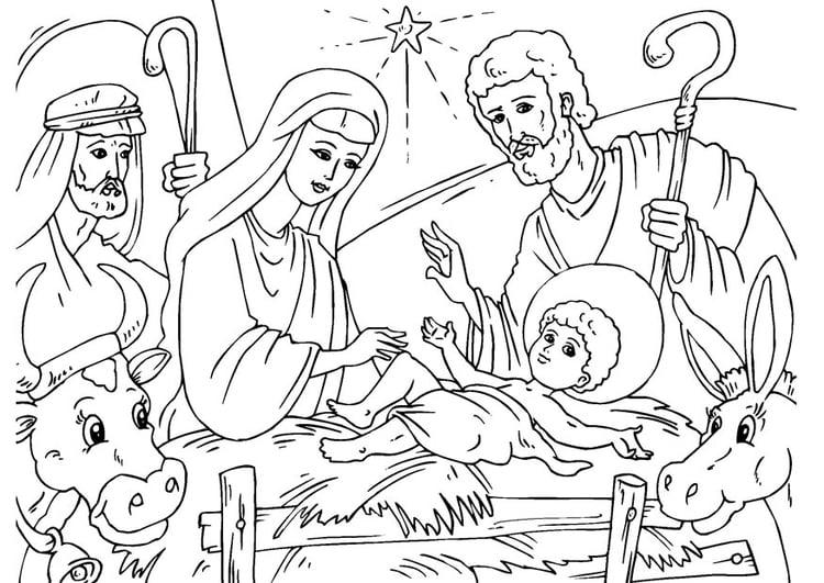 Kleurplaat Kerststal Afb 23056