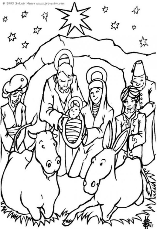 Kleurplaat Kerststal Afb 6448