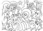Kleurplaat kerststal - geboorte van Jezus