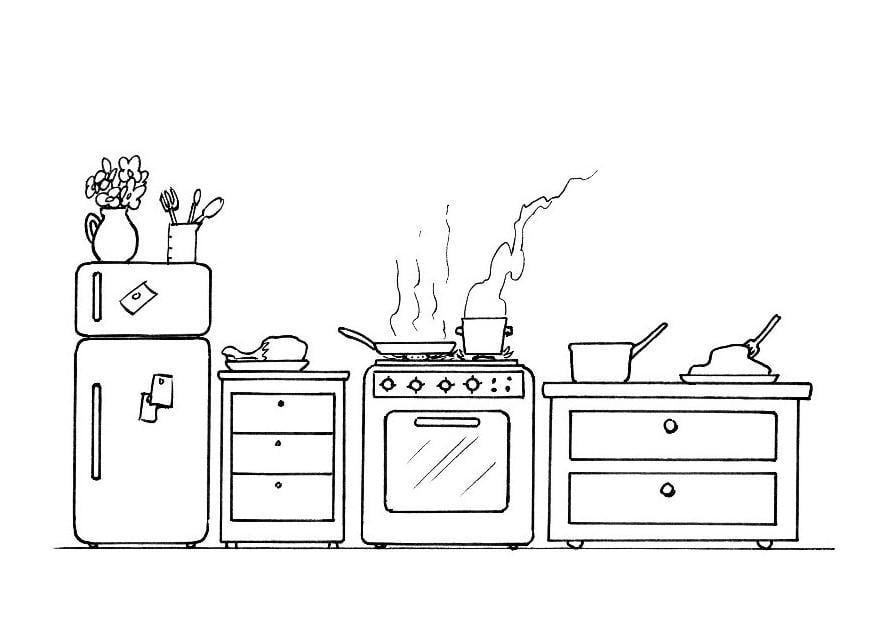 kleurplaat keuken afb 8200. Black Bedroom Furniture Sets. Home Design Ideas