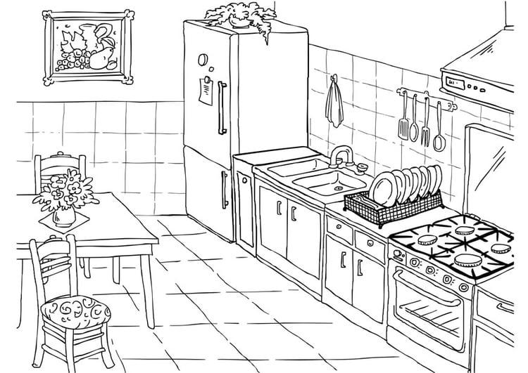 Kleurplaat keuken afb 26224 for Conception cuisine 2d