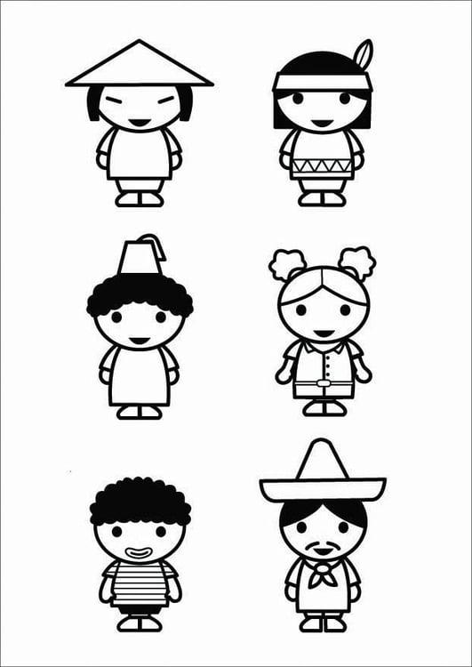 Kleurplaat Kinderen Culturen Afb 26424
