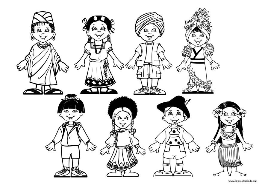 Free Children Holding Hands Around The World Coloring Page