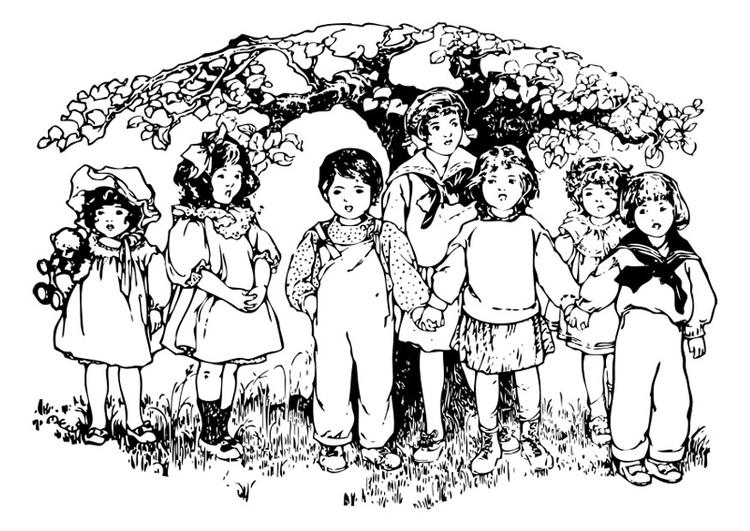 Kleurplaat Kinderen Onder Boom Afb 27571