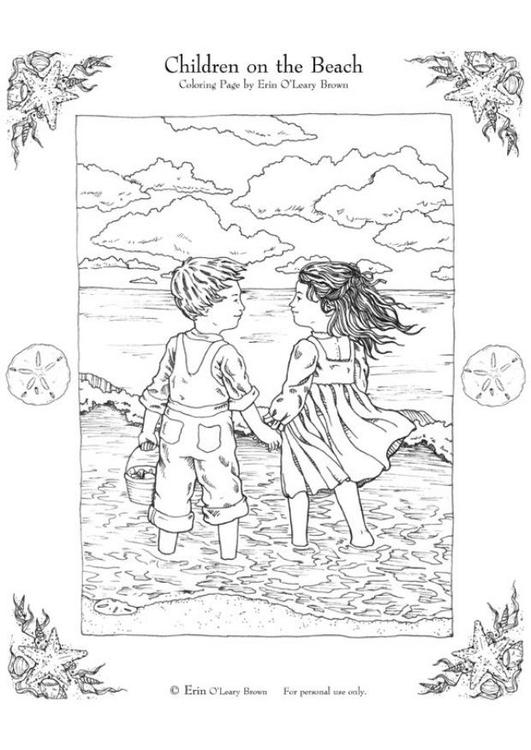 kleurplaat kinderen op het strand gratis kleurplaten om