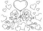 Kleurplaat kinderen Valentijn