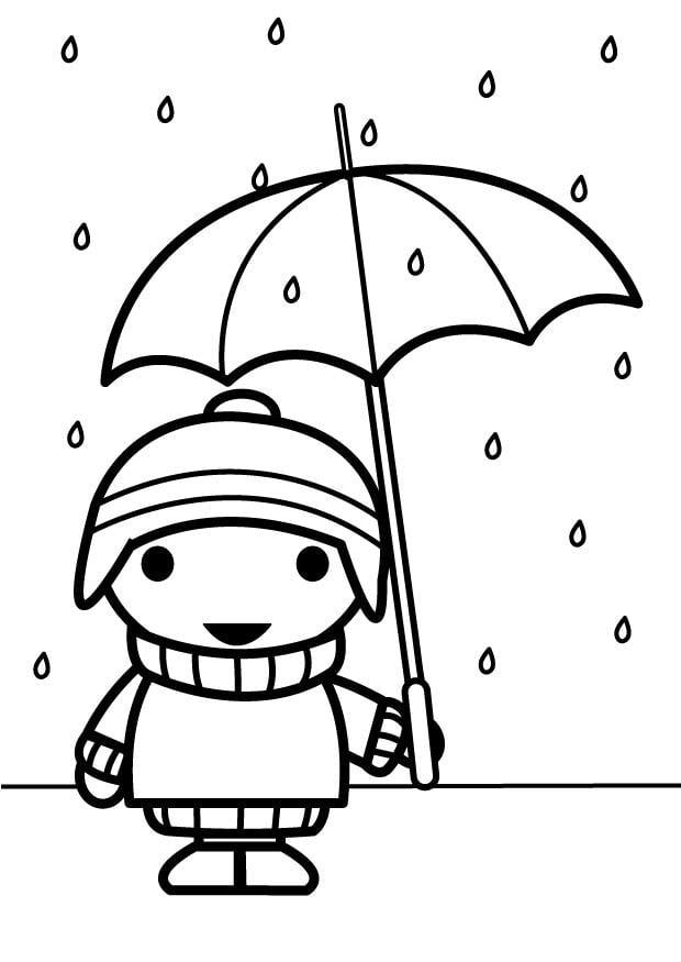 Kleurplaat Nijntje Winter Kleurplaat Kindje Met Paraplu Afb 26885