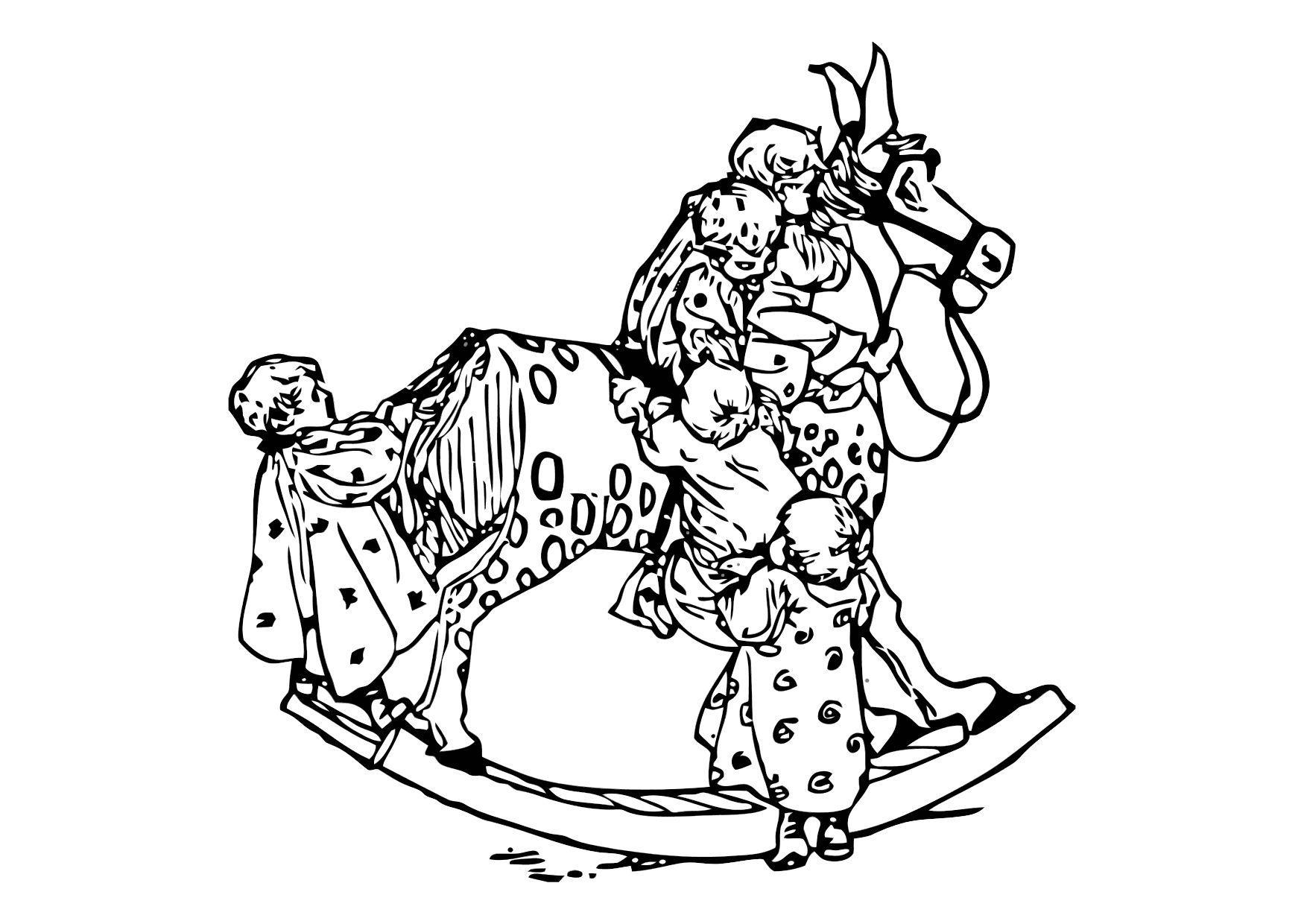 Kleurplaat Kleuters Op Een Schommelpaard Afb 11881