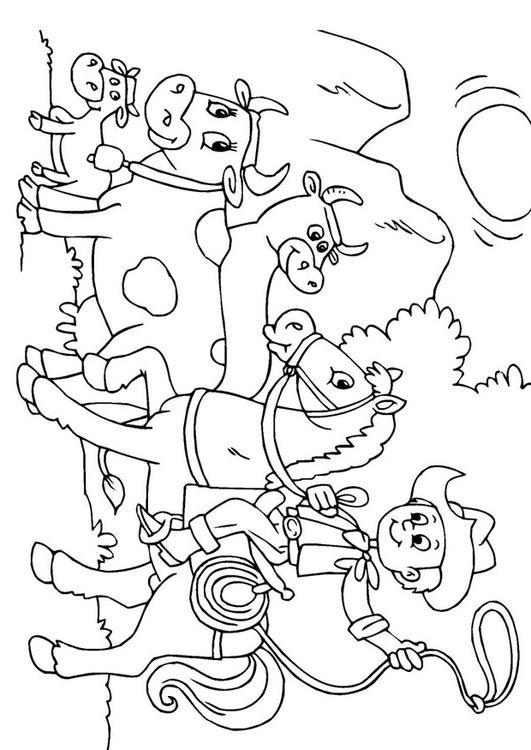 Kleurplaat Koeien Hoeden Afb 25969