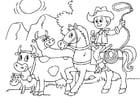 Kleurplaat koeien hoeden