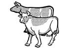 Kleurplaat koeien
