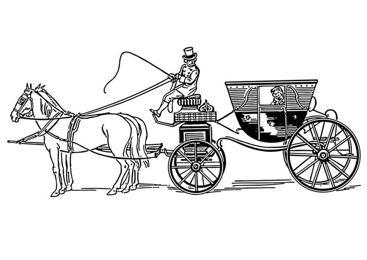 Kleurplaten Paarden Met Koets.Kleurplaat Koets Afb 18769