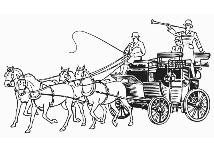 Kleurplaten Paarden Met Koets.Kleurplaat Koets Afb 18770