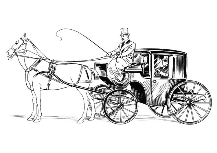 Kleurplaat Koets Met Ruiter En Paard Afb 18830