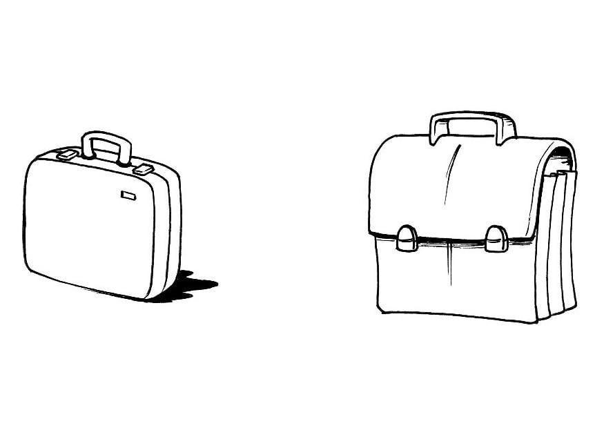 kleurplaat koffer boekentas afb 8191