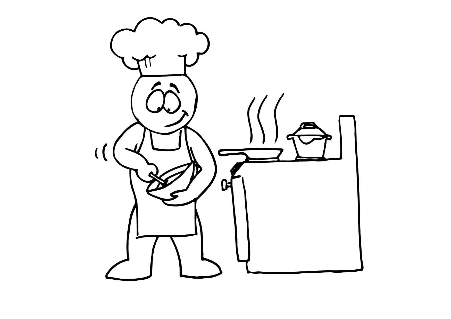 Kleurplaat koken afb 24716 - Koken afbeelding ...