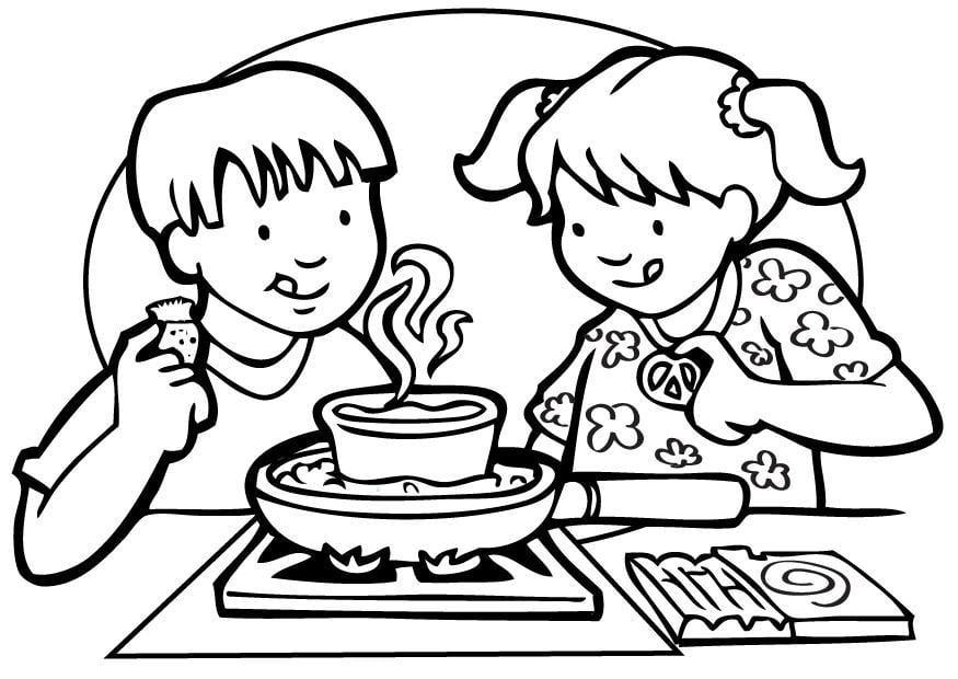 Kleurplaten Koken En Eten.Koken Kleurplaat Kleurplaat Koken Afb 7101 Kleurplatenl Com