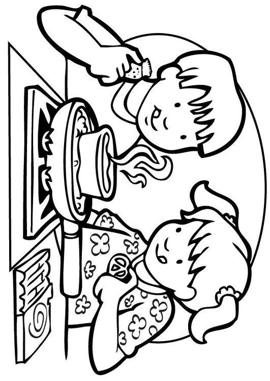 Kleurplaten Koken En Eten.Kleurplaat Koken Afb 7101