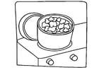 Kleurplaat koken - pop corn