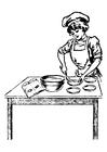 Kleurplaat kokkin