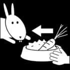 Kleurplaat konijn eten geven