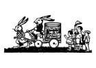 Kleurplaat konijnen familie
