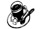 Kleurplaat kop koffie