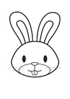 Kleurplaat kop konijn