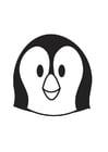 Kleurplaat kop pinguin
