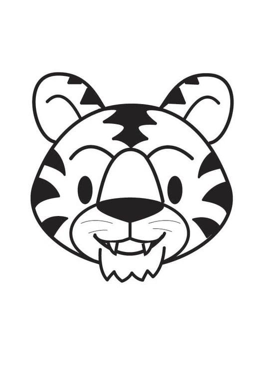 kleurplaat kop tijger afb 17804