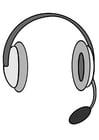 Kleurplaat koptelefoon met microfoon