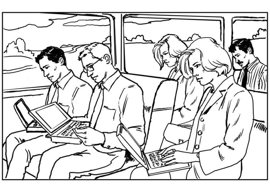 kleurplaat laptop op de trein gratis kleurplaten om te