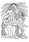 Kleurplaat leeuw giraf en zebra
