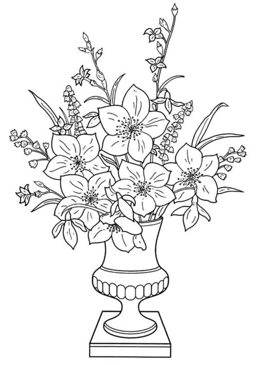 Kleurplaten Vaas Met Bloemen.Kleurplaat Lelies In Vaas Afb 11340