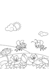 Kleurplaat lente, bijen in de tuin