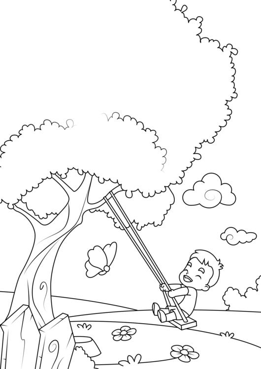 kleurplaat lente schommelen aan boom gratis kleurplaten