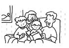 Kleurplaat lezen - familie