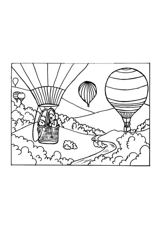 kleurplaat luchtballon afb 9650