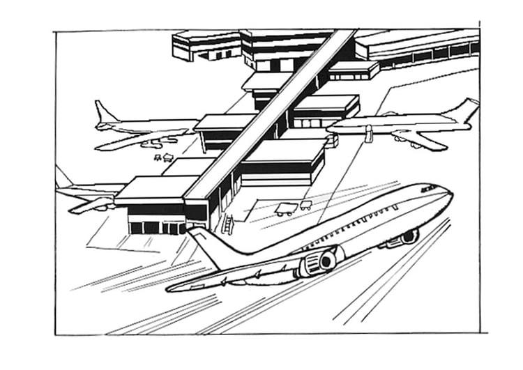 kleurplaat luchthaven vliegveld gratis kleurplaten om