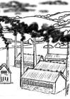 Kleurplaat luchtvervuiling fabrieken